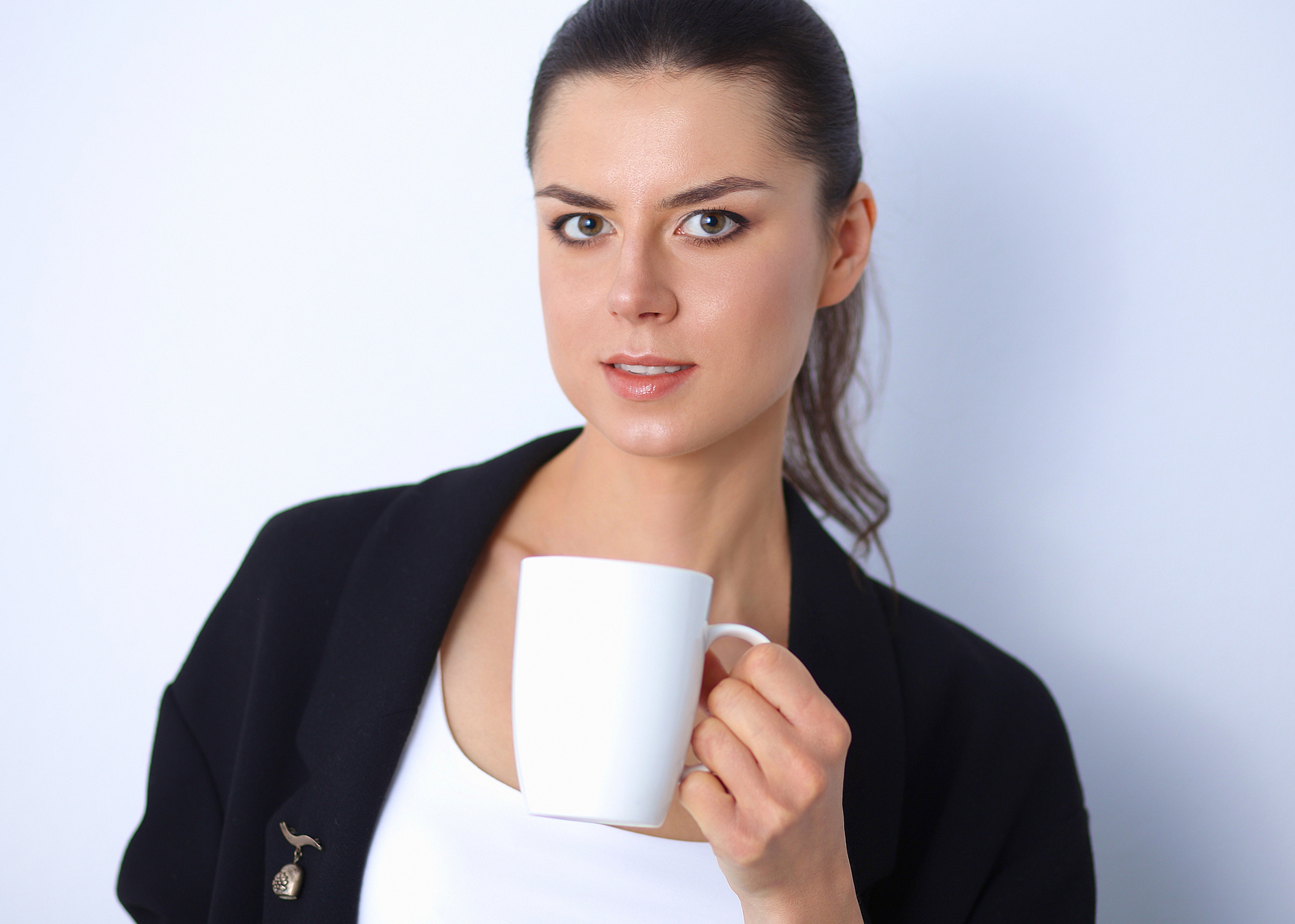 coffee drinker worries about stained teeth